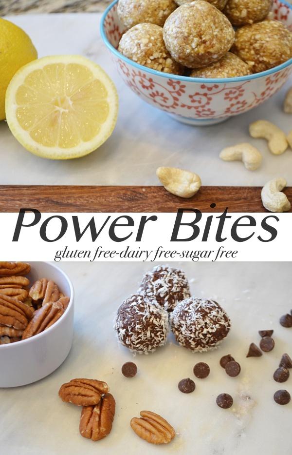 german chocolate fudge power bites and lemon fruit power bites. Gluten free, sugar free, dairy free