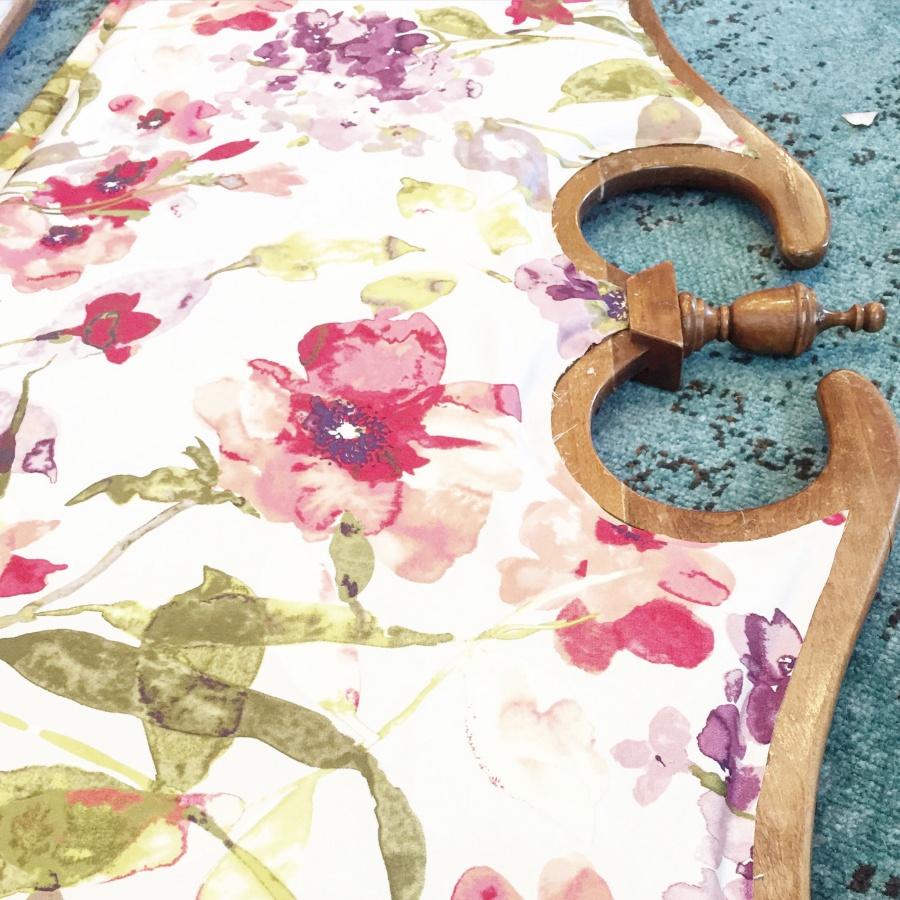 hot glued fabric on vintage headboard