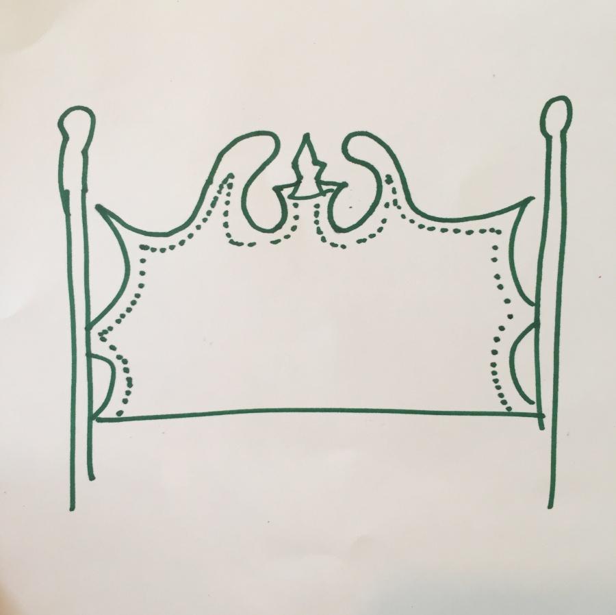upholstered vintage headboard sketch