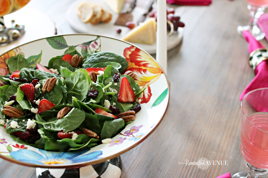 Floral and Citrus Summer Brunch Table,summer salad, summer brunch, sisters brunch, strawberry spinach salad