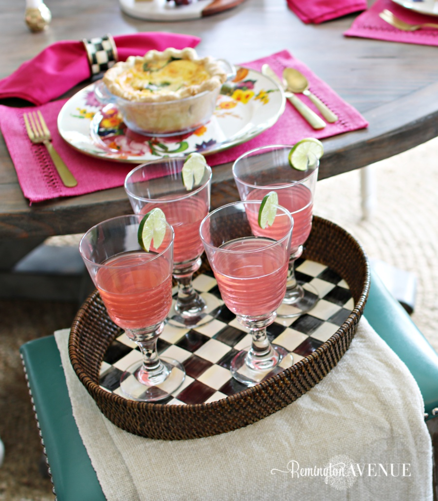 Floral and Citrus Summer Brunch Table, summer serving tray, summer drink ideas, summer raspberry limeade