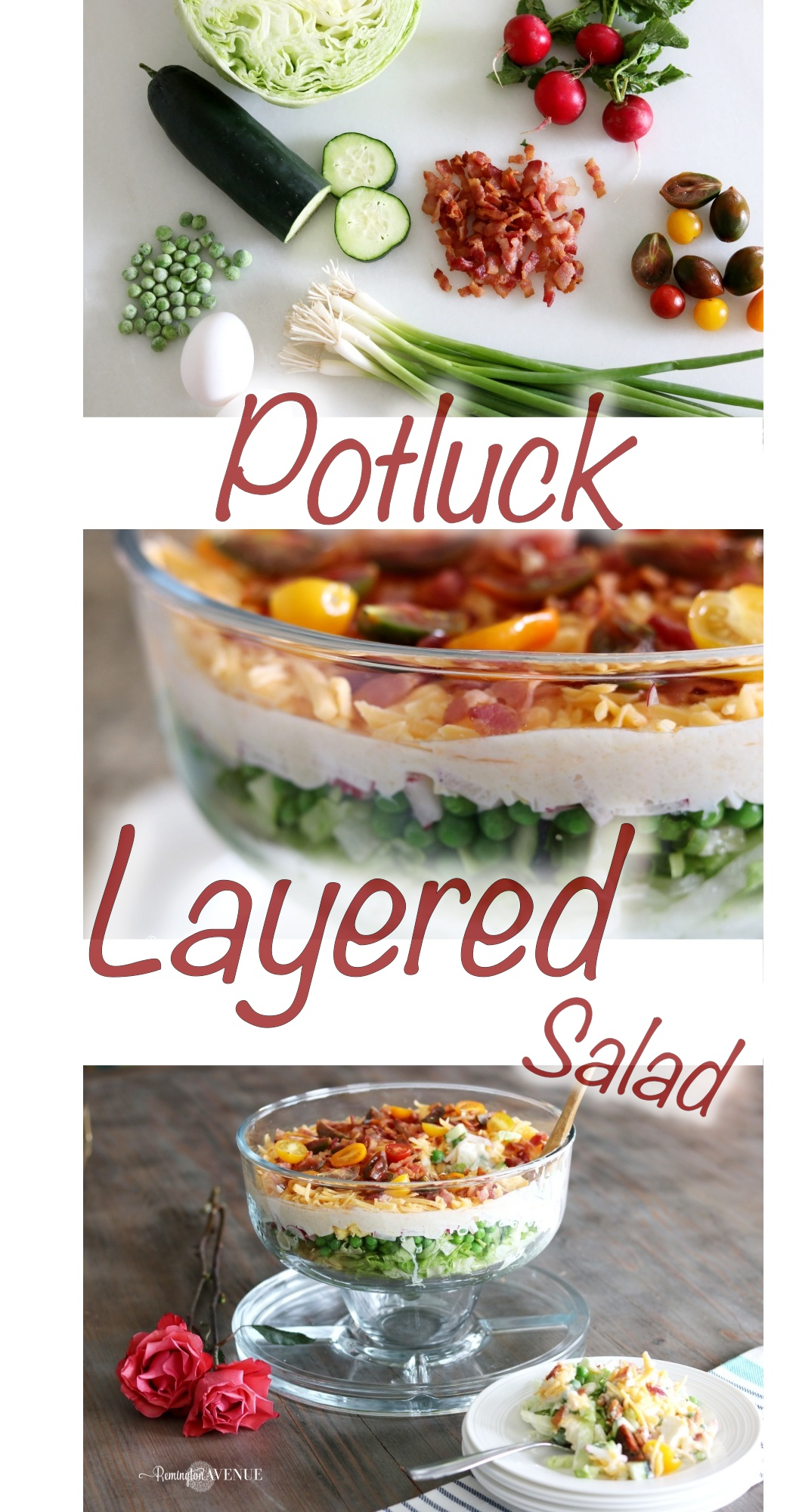 potluck recipe, potluck dish, salad, layered salad, 7 layered salad, mothers day recipe