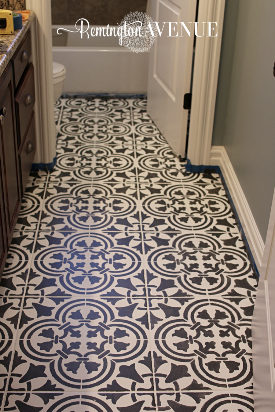 How to paint stencil tile remington avenue for Painting over vinyl floor