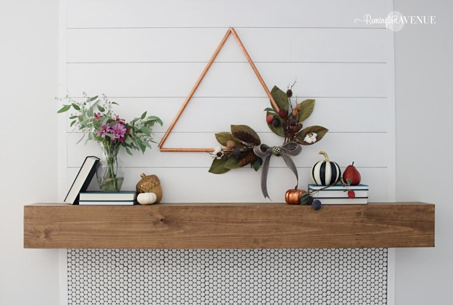 DIY fall copper triangle wreath craft