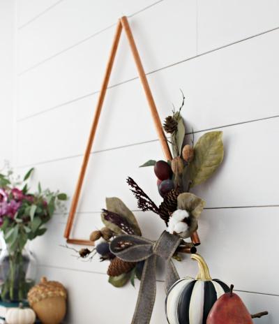 DIY Fall Copper Triangle Wreath