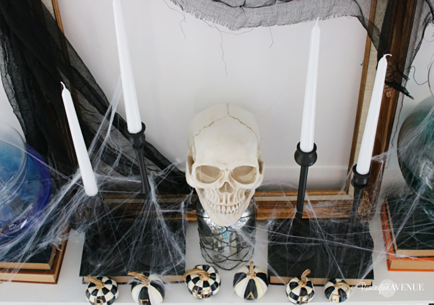 black and white spooky Halloween mantel