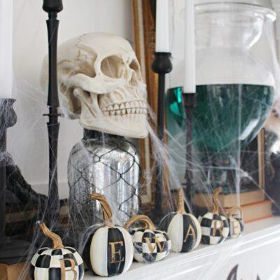 Black & White Spooky Halloween Mantel