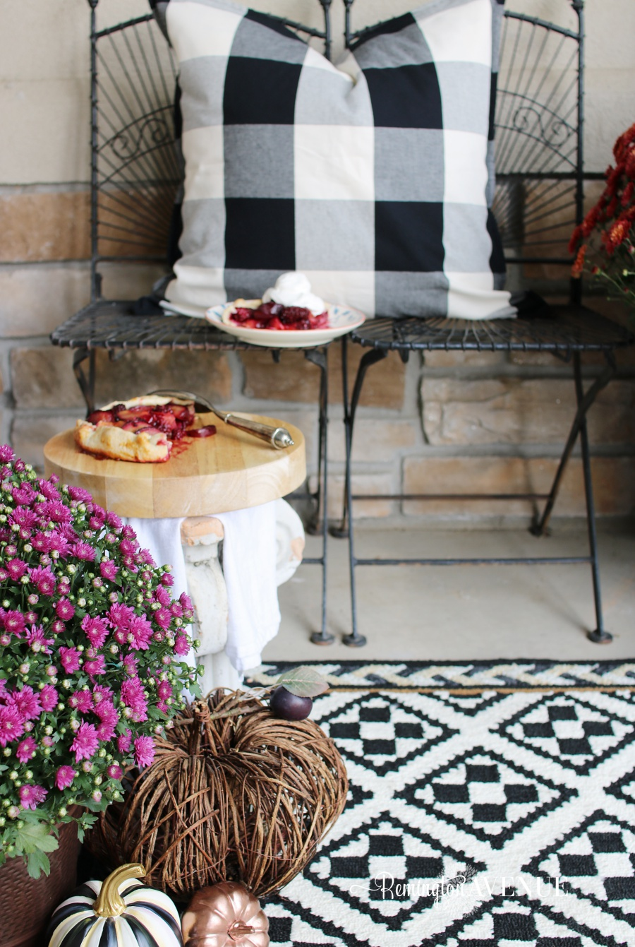 copper & jewel toned fall front porch - fall pie on the porch