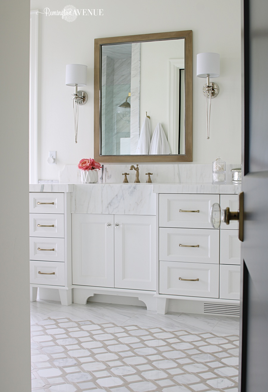 Marble master bathroom- wood lattice