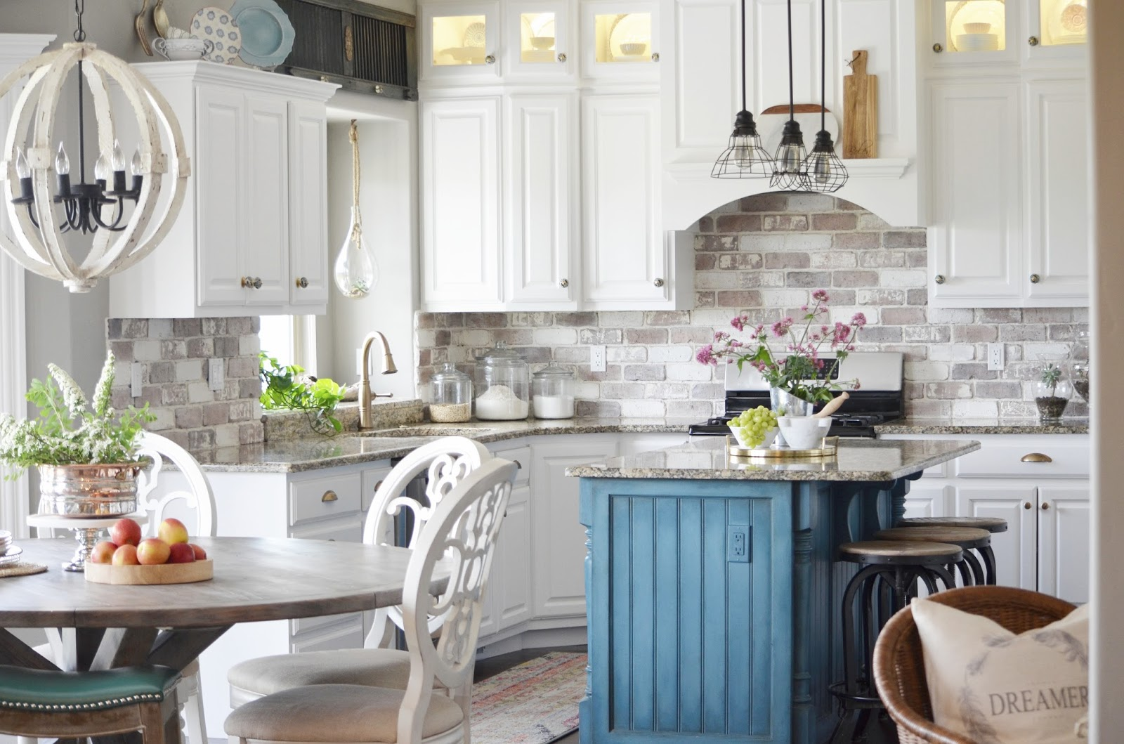rustic, country kitchen, chalk paint, brick backsplash, white kitchen, kitchen renovation, painted cabinets, painted kitchen, diy kitchen, diy backsplash