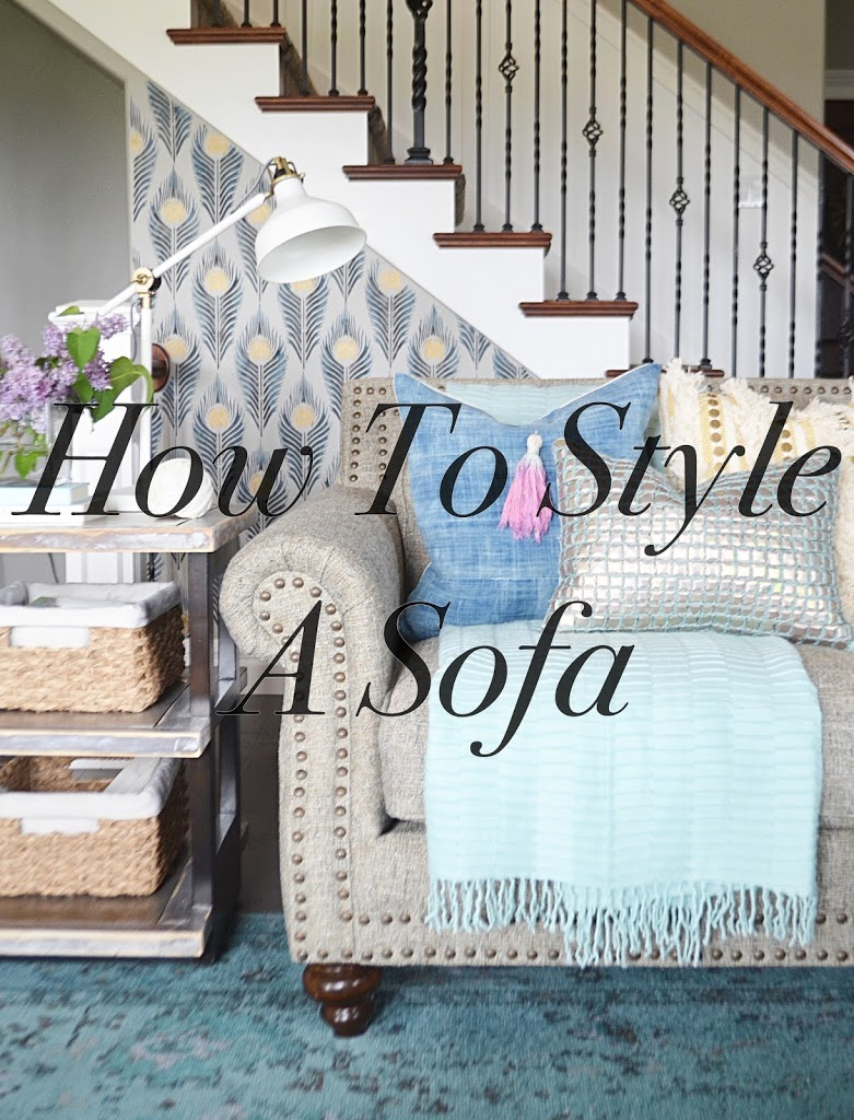 sofa style, pillows, throws, side table, sofa table, layers, Interior decor, home styling, couch
