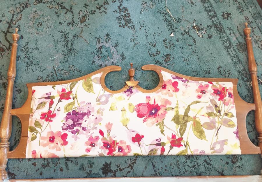 glued fabric on vintage headboard