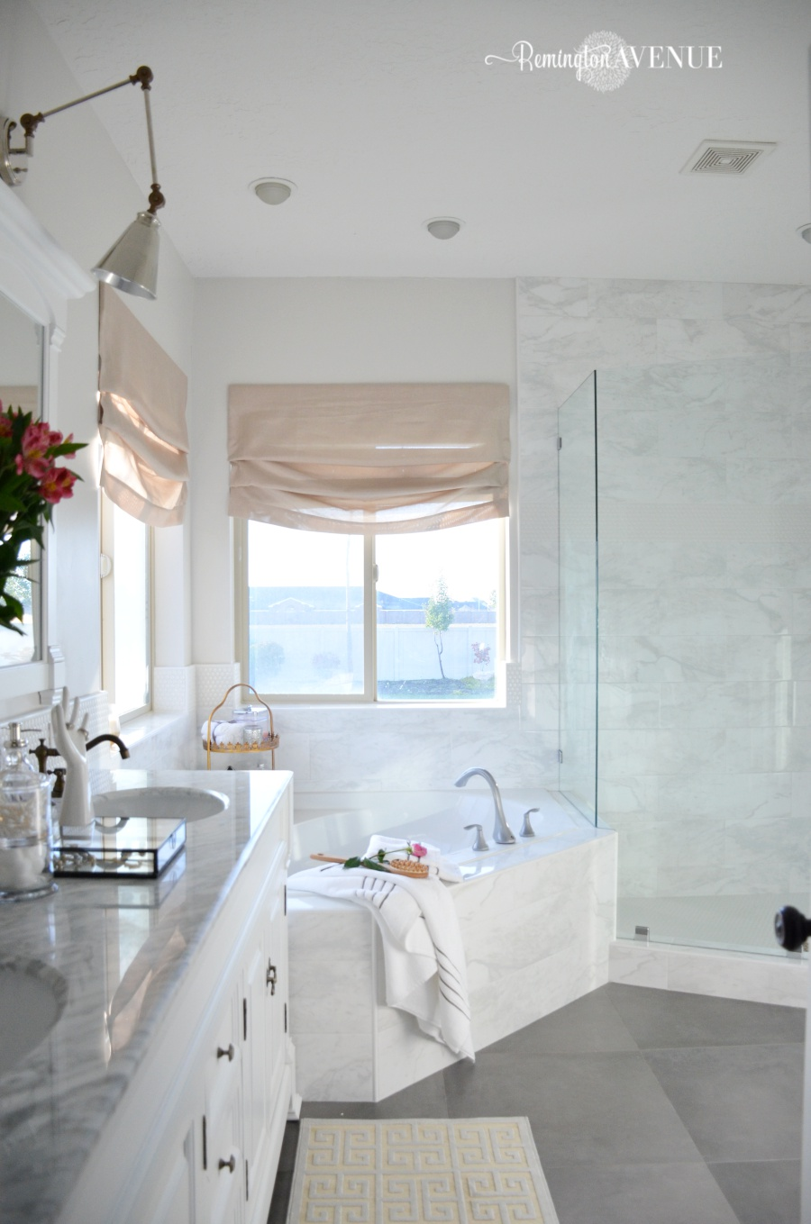 One room challenge bright white master bathroom final for Master bathroom white