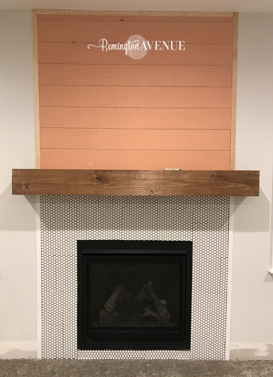 Easy diy wood mantel remington avenue the shiplap on top was finished with extra wood strips from my daughters room makeover you can find my faux shiplap tutorial here solutioingenieria Images
