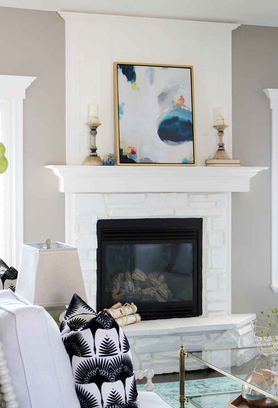 Bright White with a Pop of Color Living Room Reveal - Remington Avenue