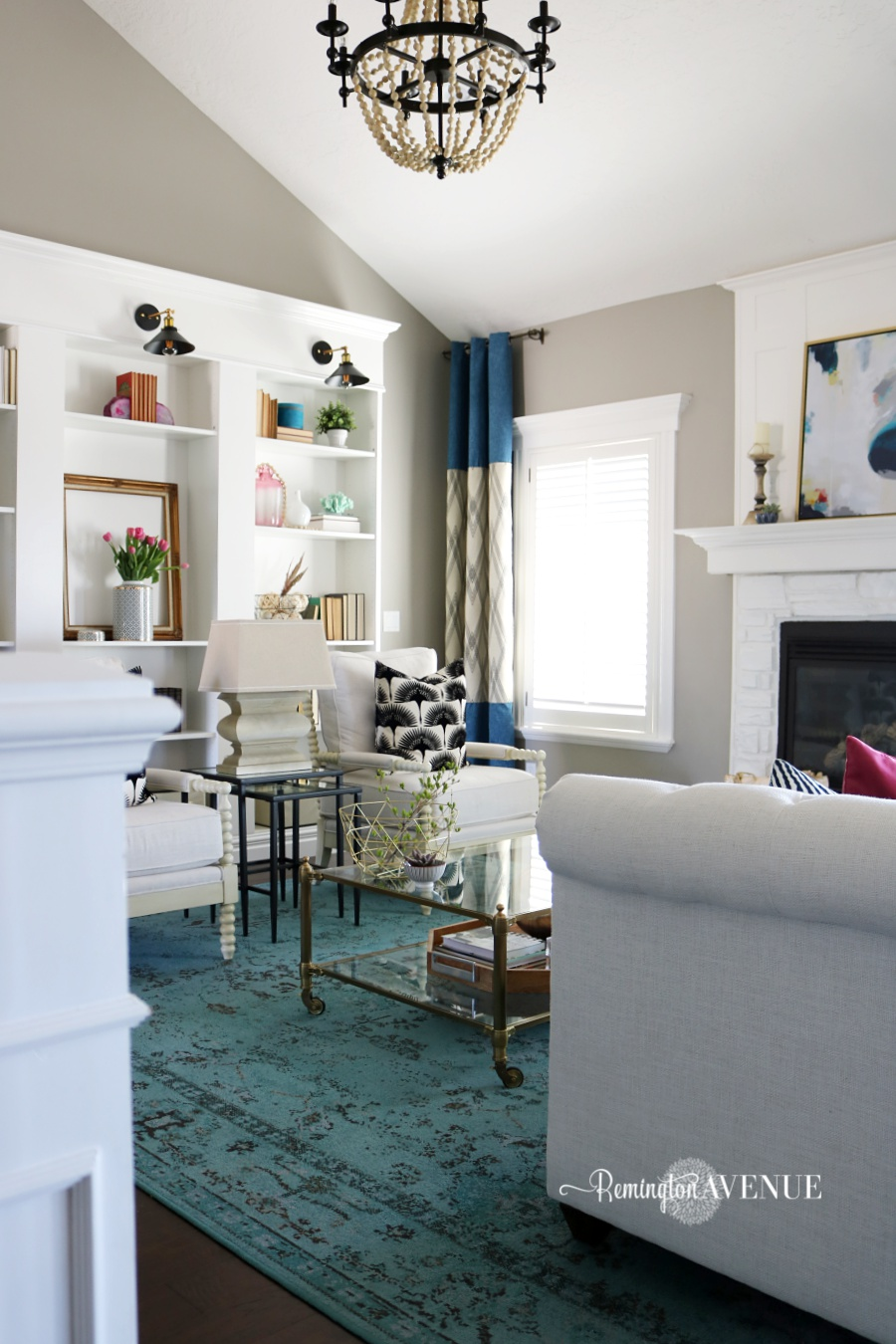 Living Room Color Pop bright white with a pop of color living room reveal - remington avenue