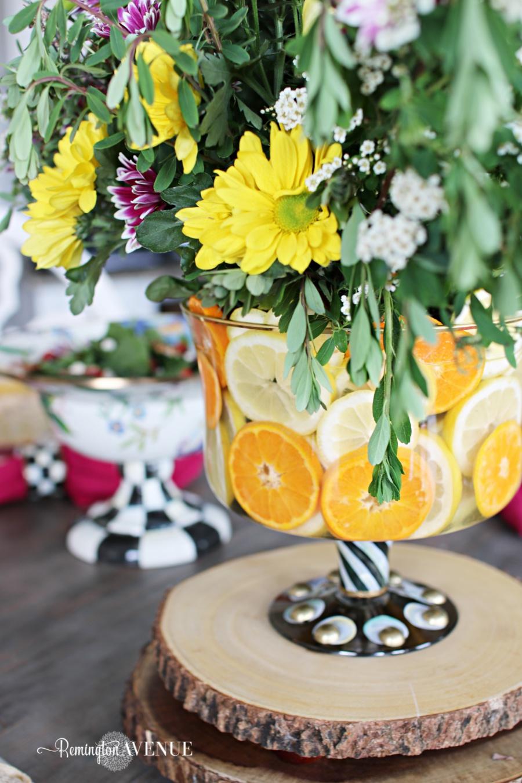Floral and Citrus Summer Brunch Table, floral centerpiece, summer centerpiece, citrus trifle dish