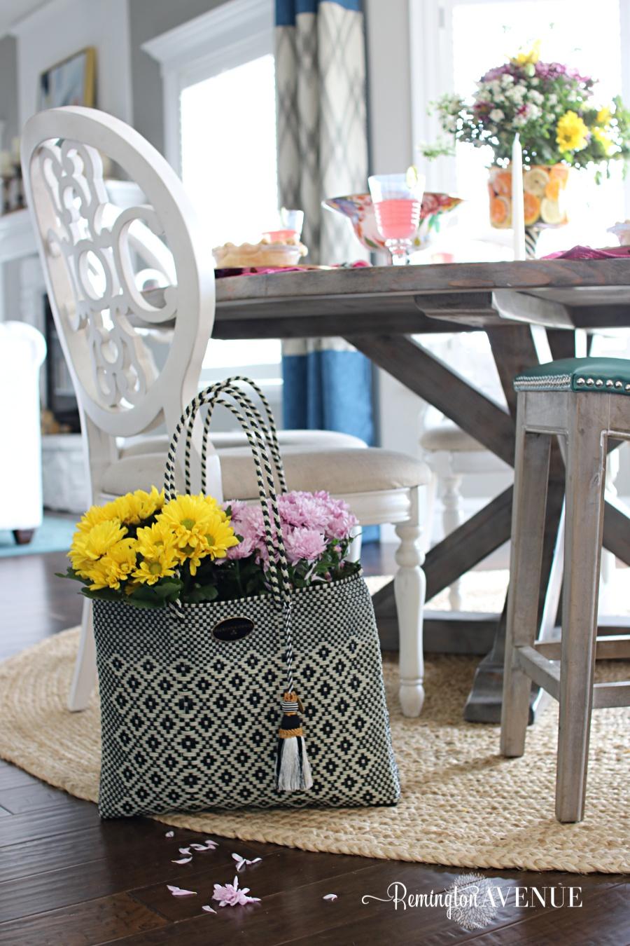Floral and Citrus Summer Brunch Table, floral basket, summer table