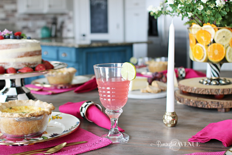 Floral and Citrus Summer Brunch Table, gold candle holders, summer table ideas,