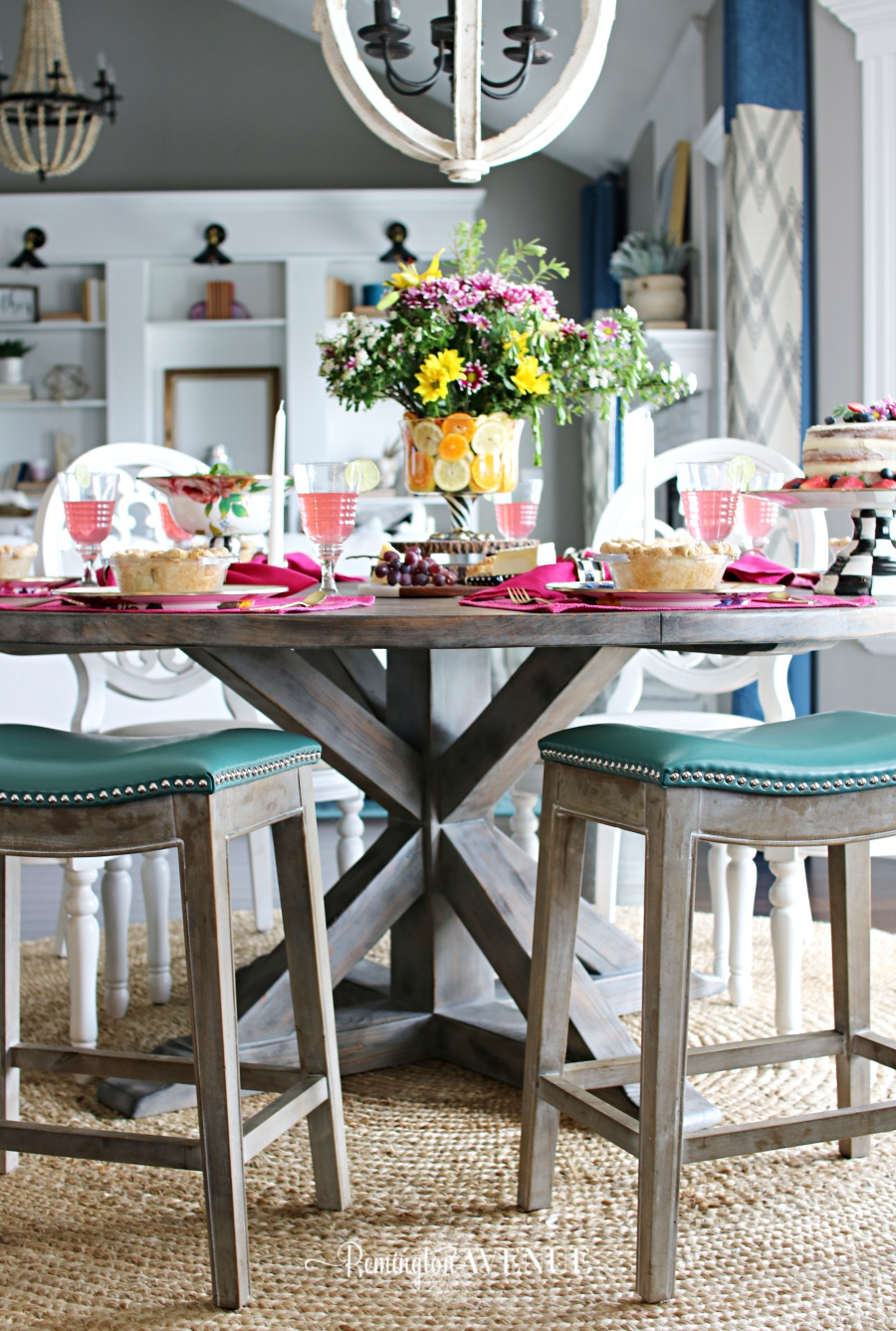 Floral and Citrus Summer Brunch Table summer brunch ideas, summer brunch table