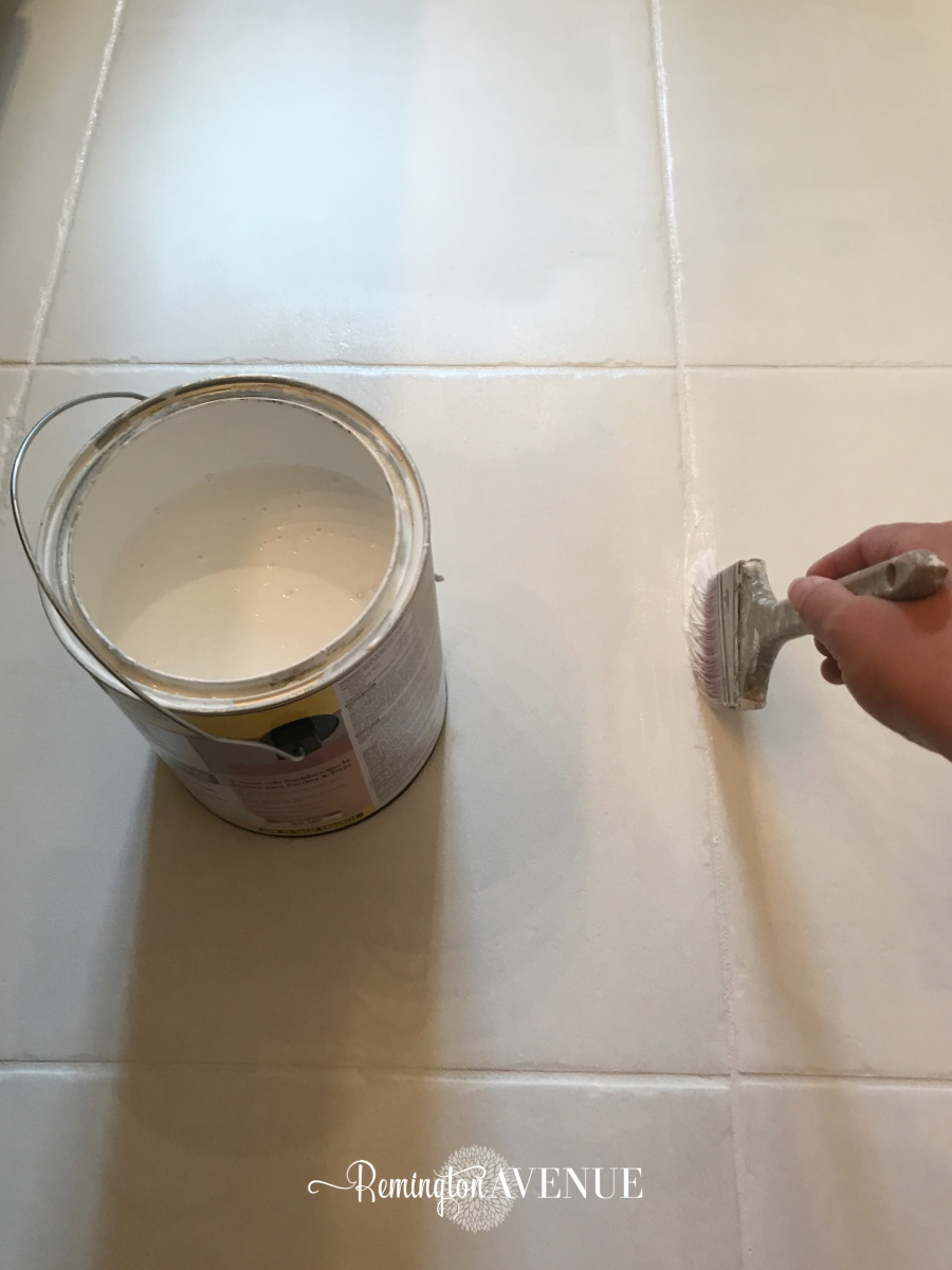 How to paint stencil tile remington avenue i applied my final 4th coat of white paint on the 5th day and let it cure for a whole week while i was on a business trip with my hubs dailygadgetfo Images