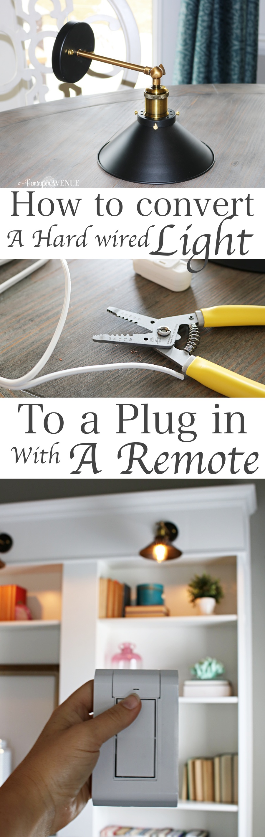 How to convert hard wired light fixtures into a plug in ... Hard Wired Remote Control Light Switch on