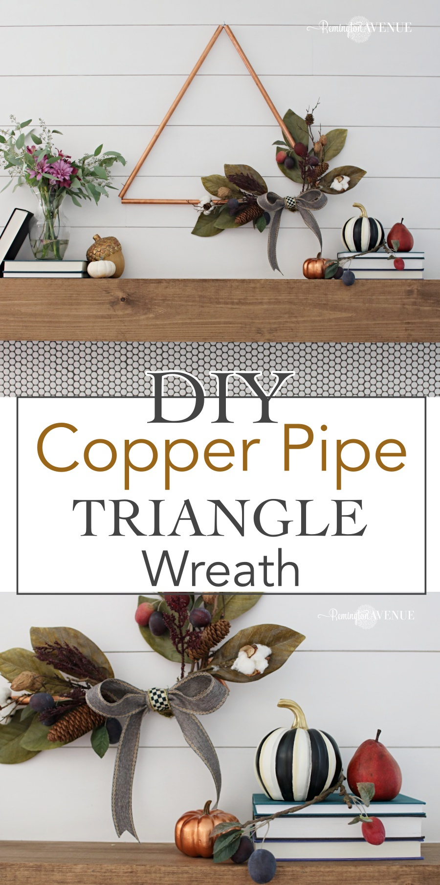 DIY copper triangle wreath tutorial