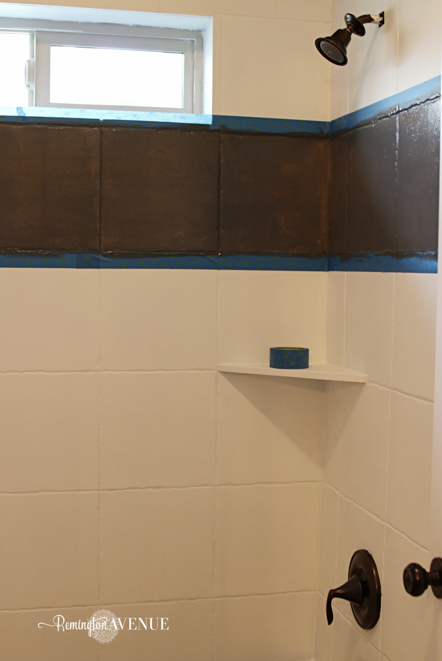 How to paint shower tile remington avenue remove painters tape from the decorative band how to paint shower tile dailygadgetfo Image collections