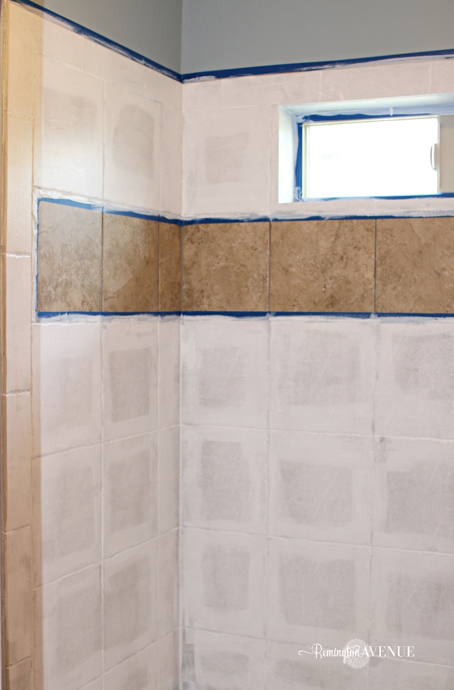 How to paint shower tile remington avenue then roll on 1 solid coat of primer on all the shower tiles i used a low profile synthetic roller brush just like the directions called for on the back of dailygadgetfo Image collections