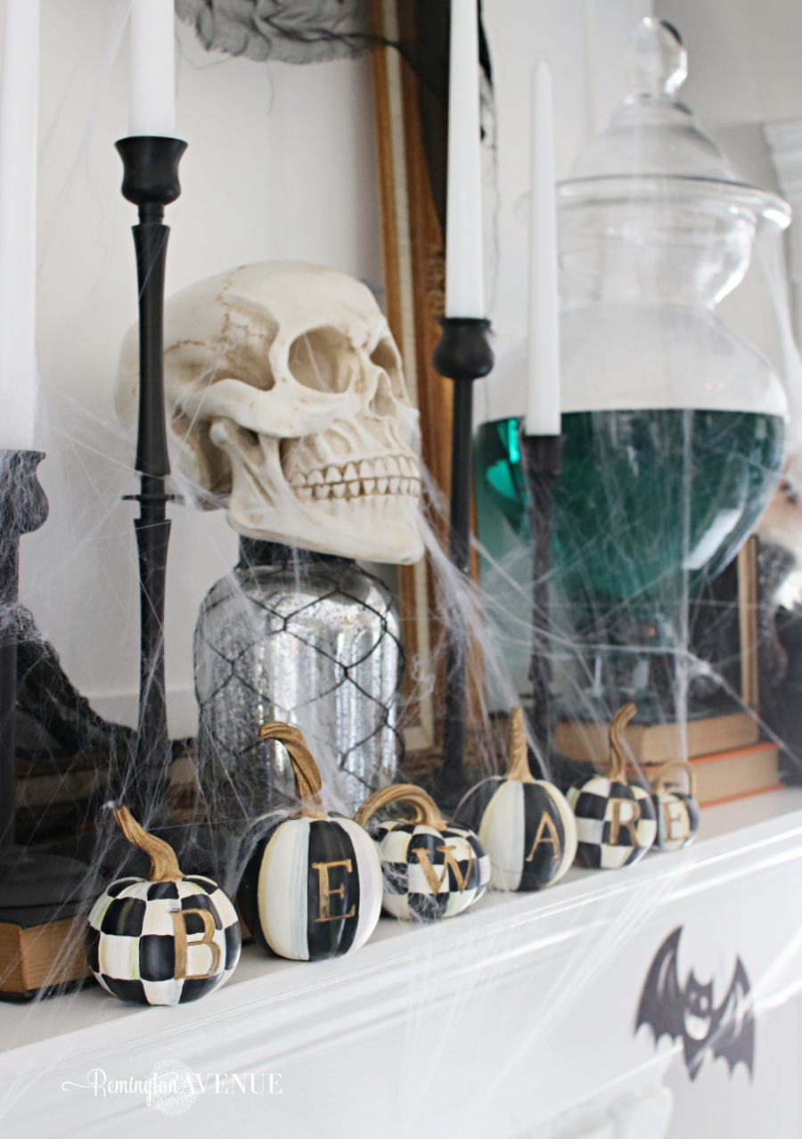 Black & White Spooky Halloween Mantel