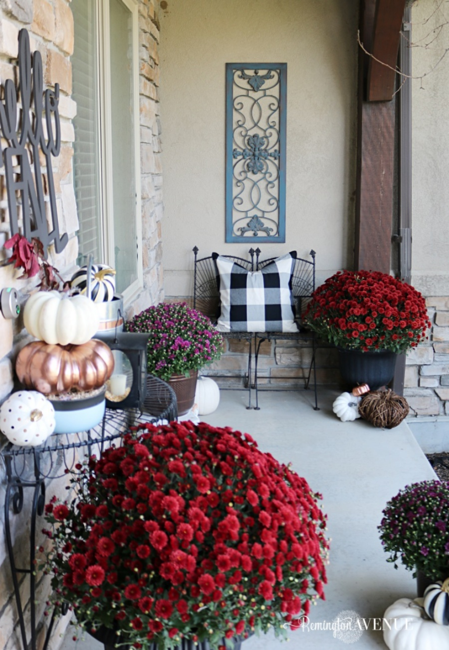 copper, jewel toned fall front porch - fall decor ideas