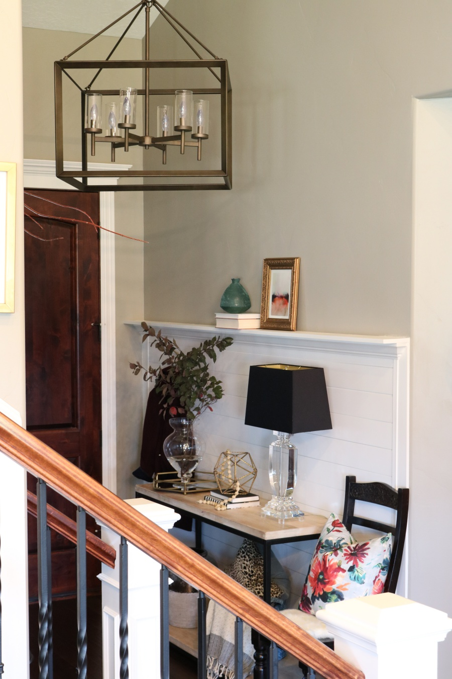 Shiplap Entry Way With Crown Molding Shelf Reveal