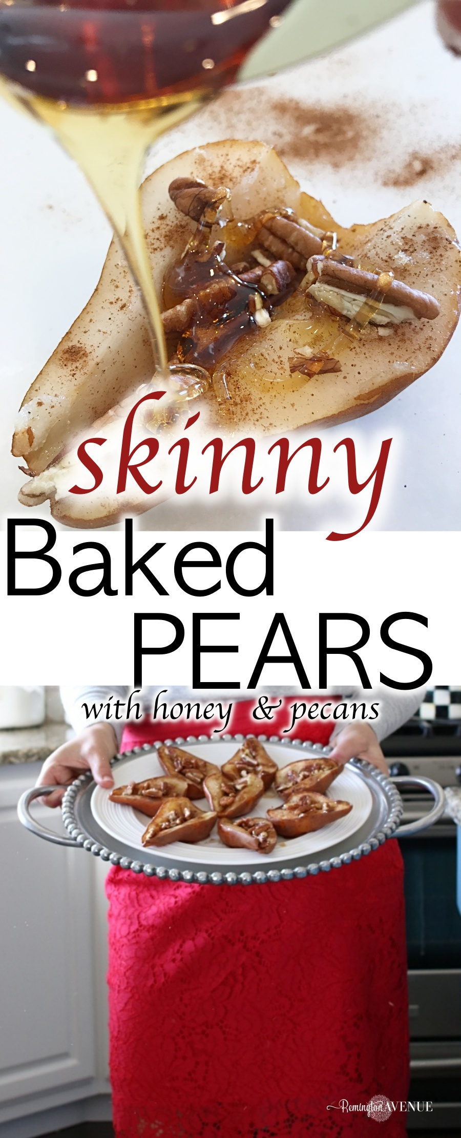 skinny baked pears with honey and pecans