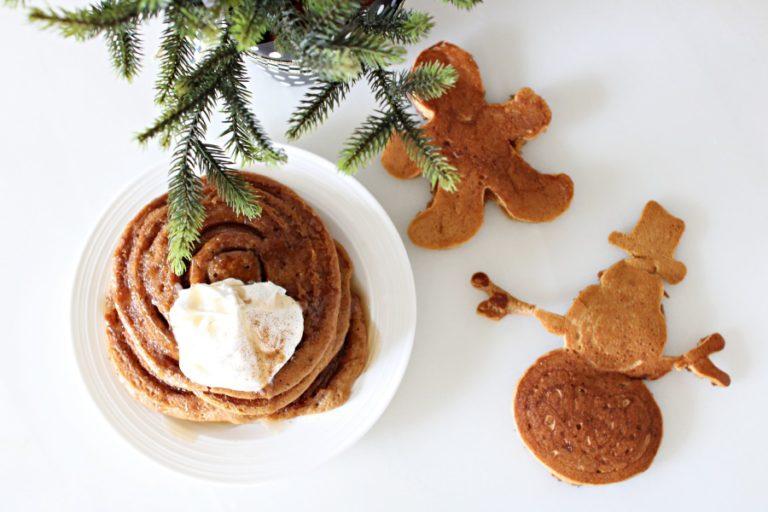Whole Wheat Gingerbread Cinnamon Roll Pancakes