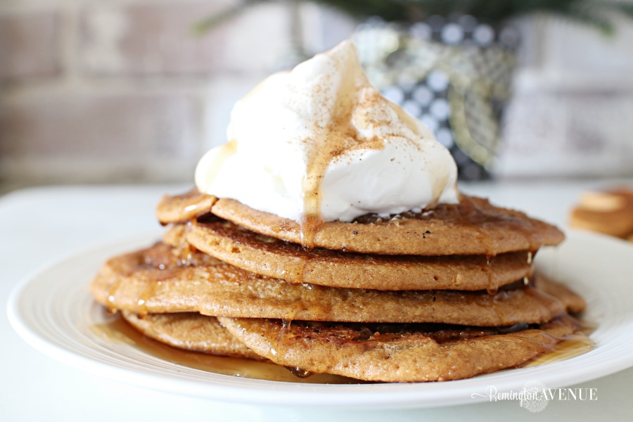 whole wheat gingerbread cinnamon roll pancakes