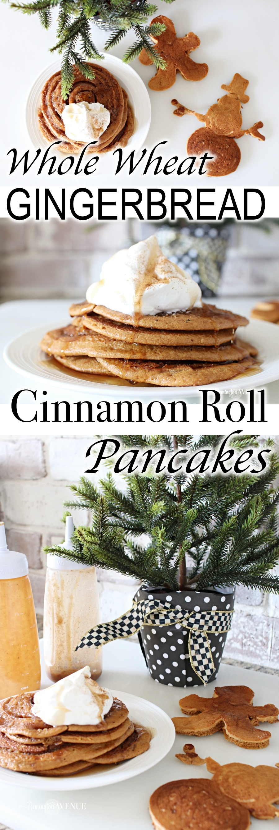 whole wheat gingerbread cinnamon roll pancakes + promo code for pancake art kit