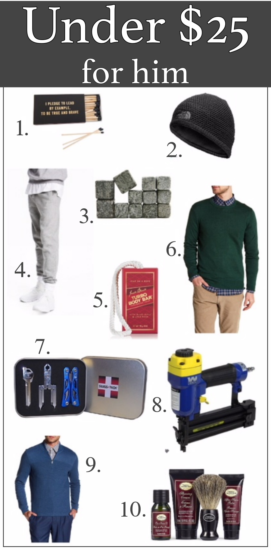 Holiday Gift Guides for everyone- under $25 for Him