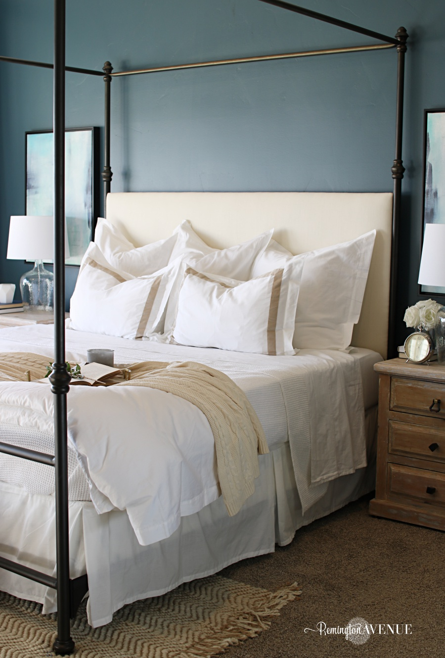 I also selected 3 white hemmed euro shams. They stand tall against the headboard creating yet another layer of comfort and luxury.