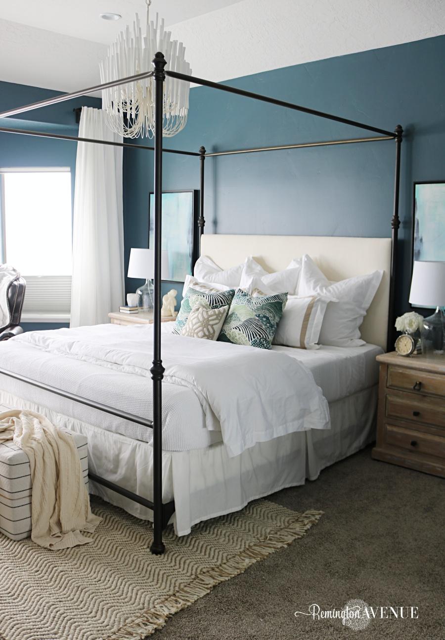 blue oasis master bedroom reveal blue oasis