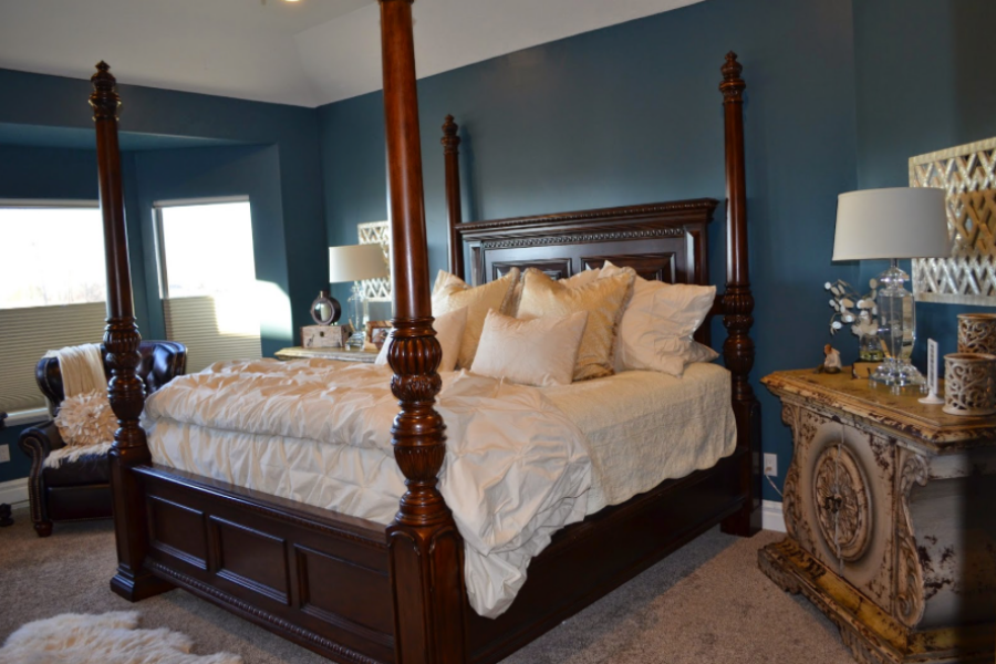 blue oasis master bedroom reveal