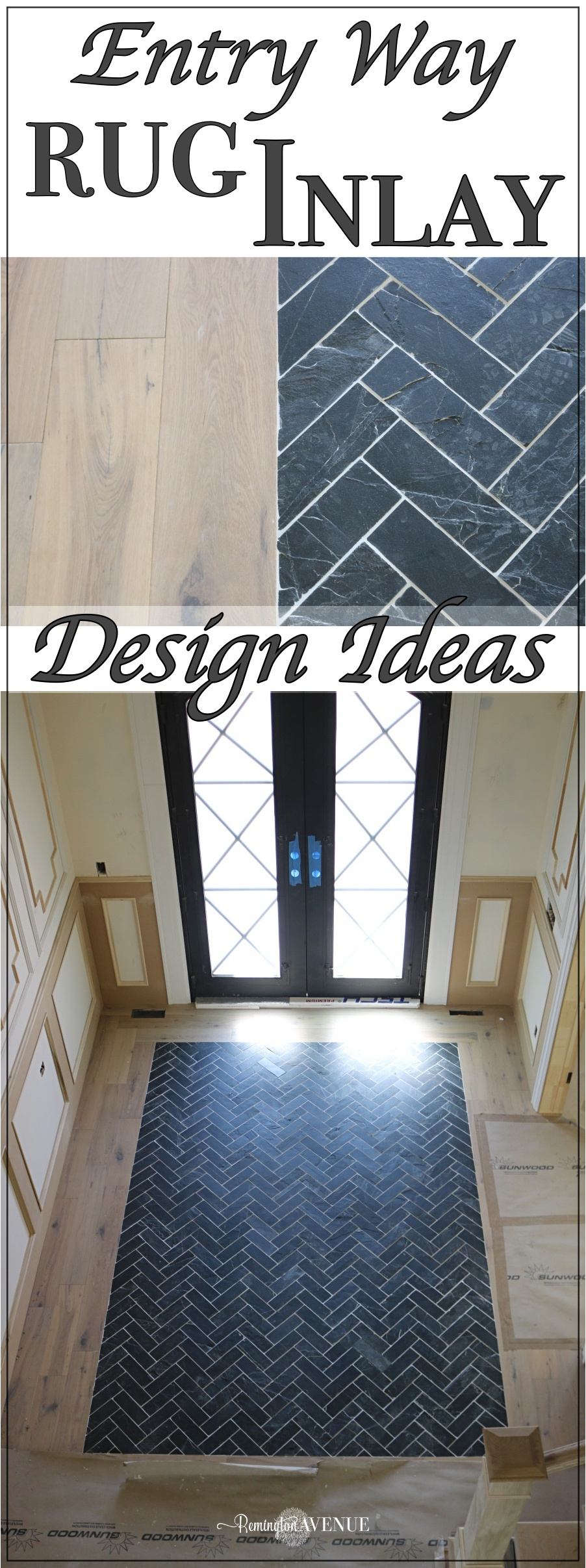 slate herringbone entry way - A timeless rug inlay design