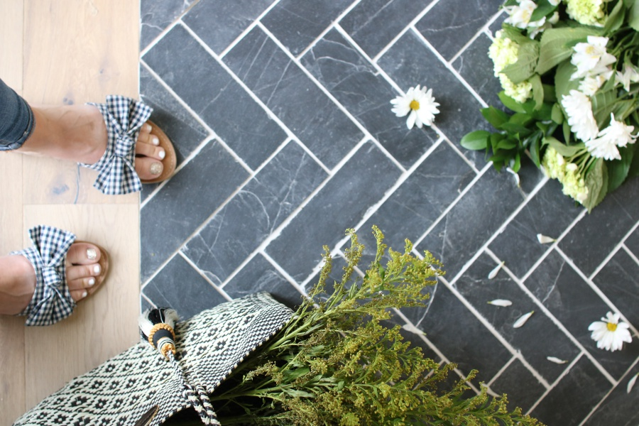 slate herringbone entry way - a timeless and durable design