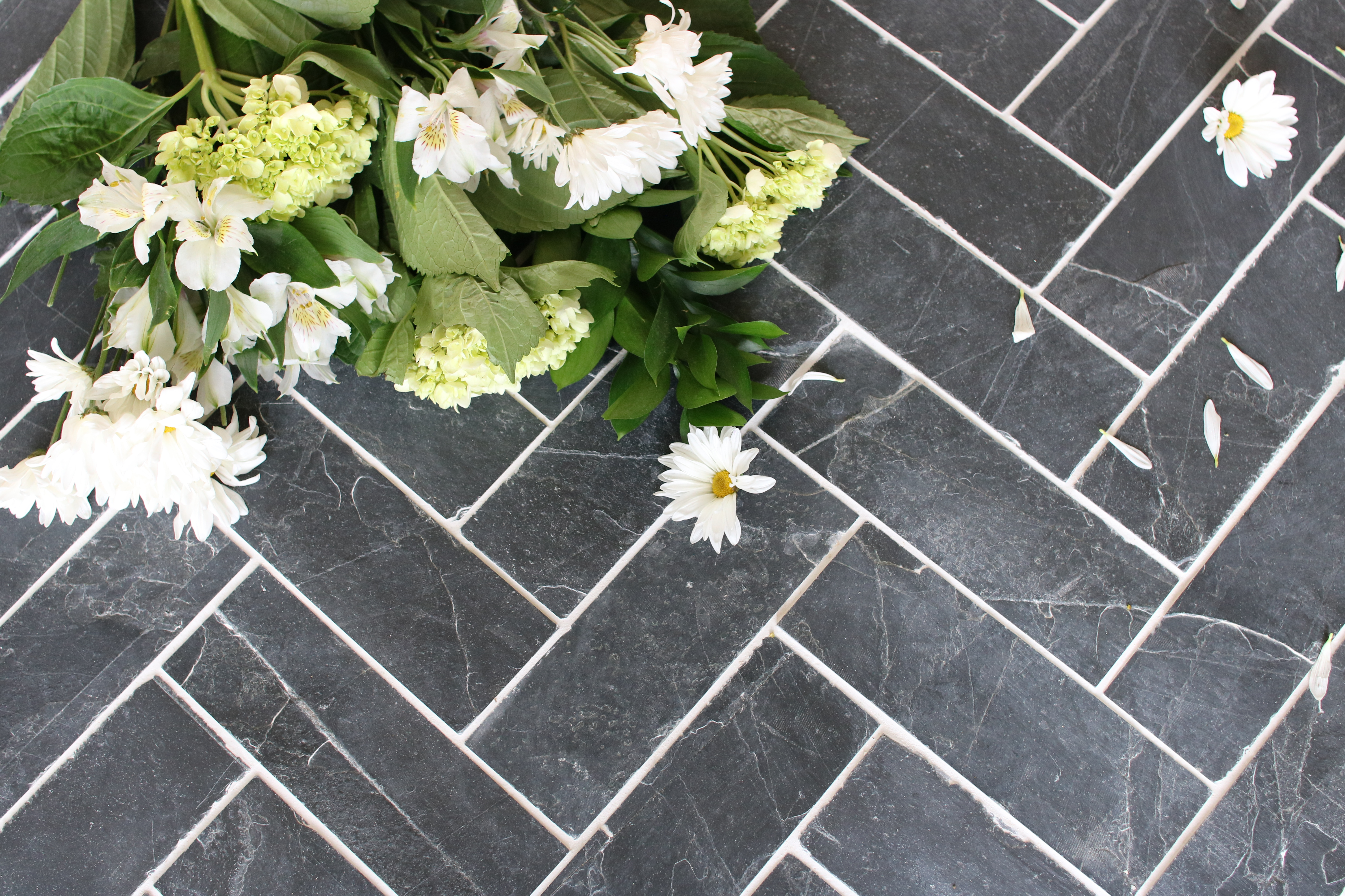 Slate Herringbone Entry Way- A timeless and durable design
