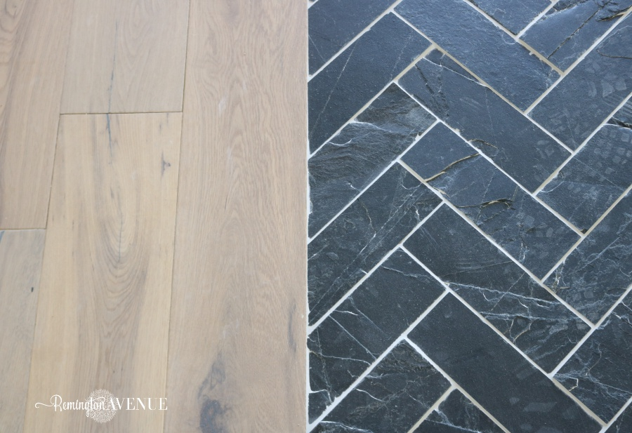 slate herringbone entry way - rug inlay