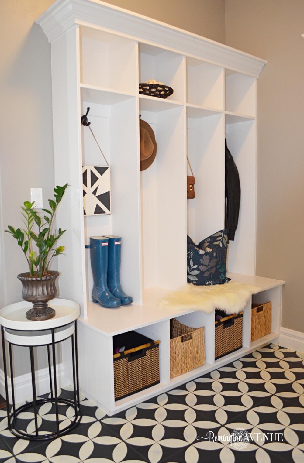 organized black and white mudroom design - Remington Avenue