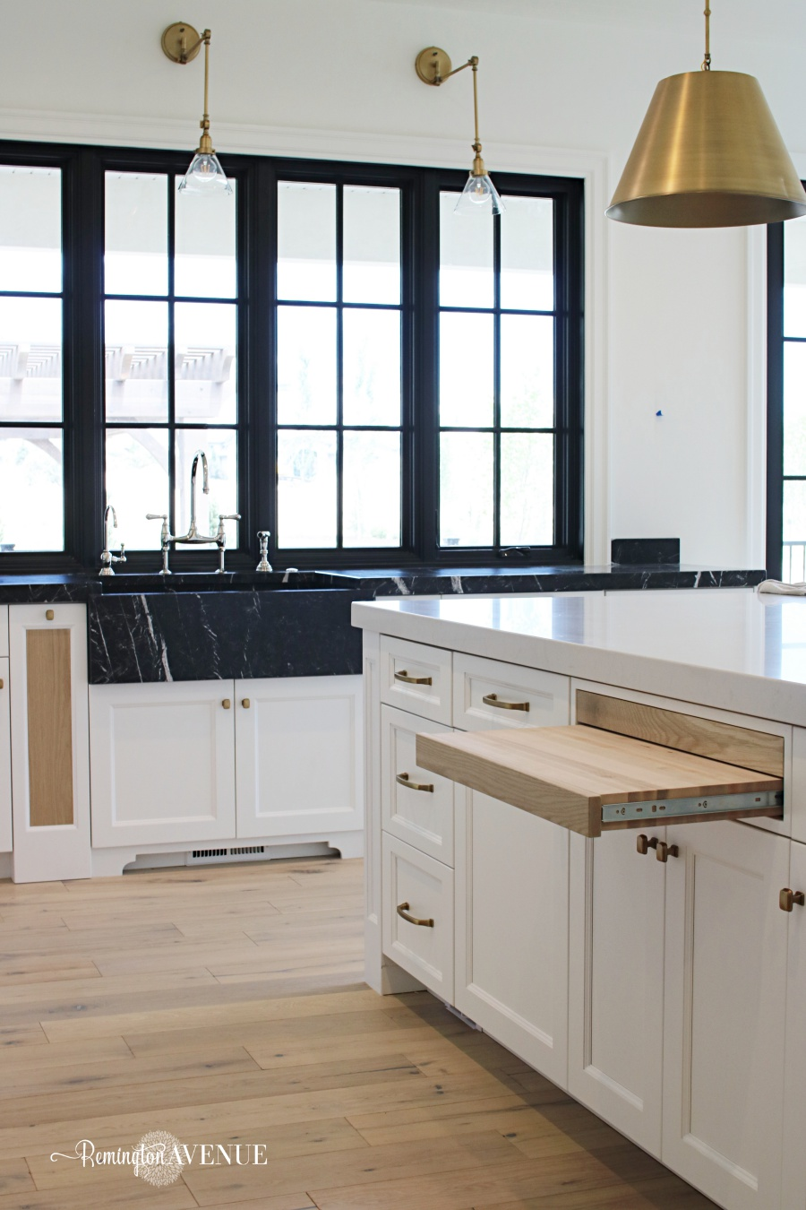 French Country Modern Kitchen with Black Marble Counters