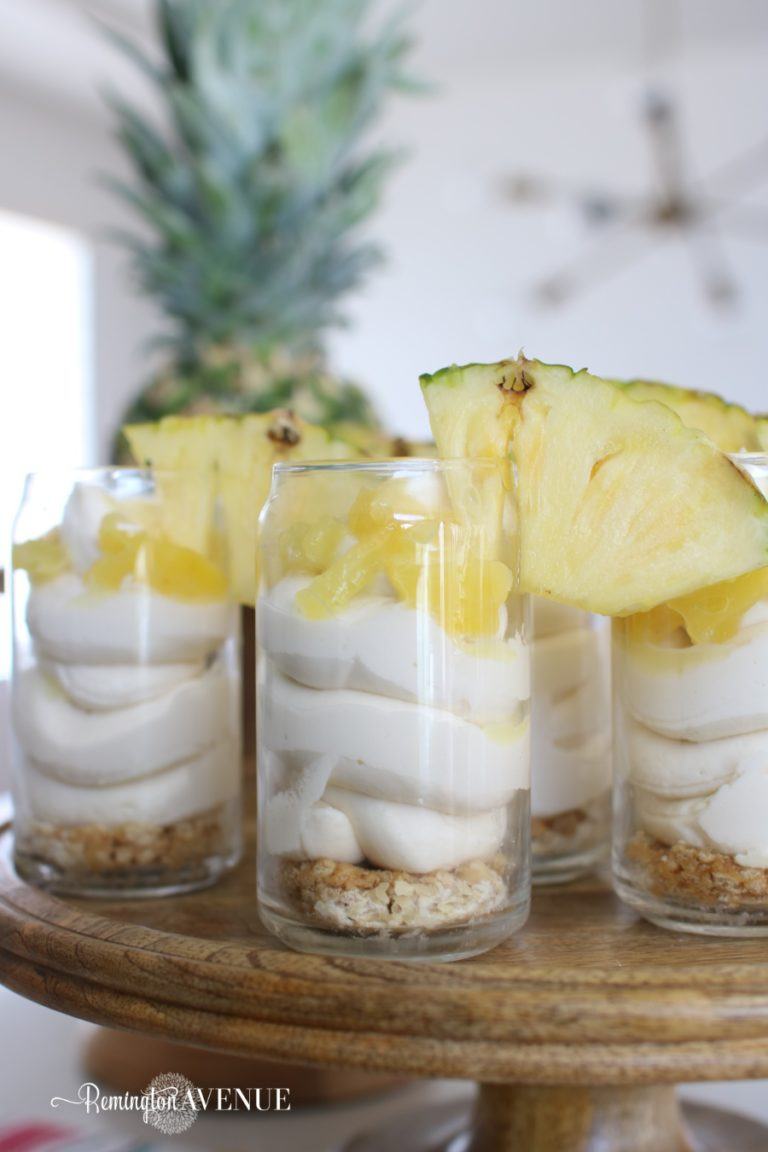 Keto No Bake cheesecake with pineapple drizzle