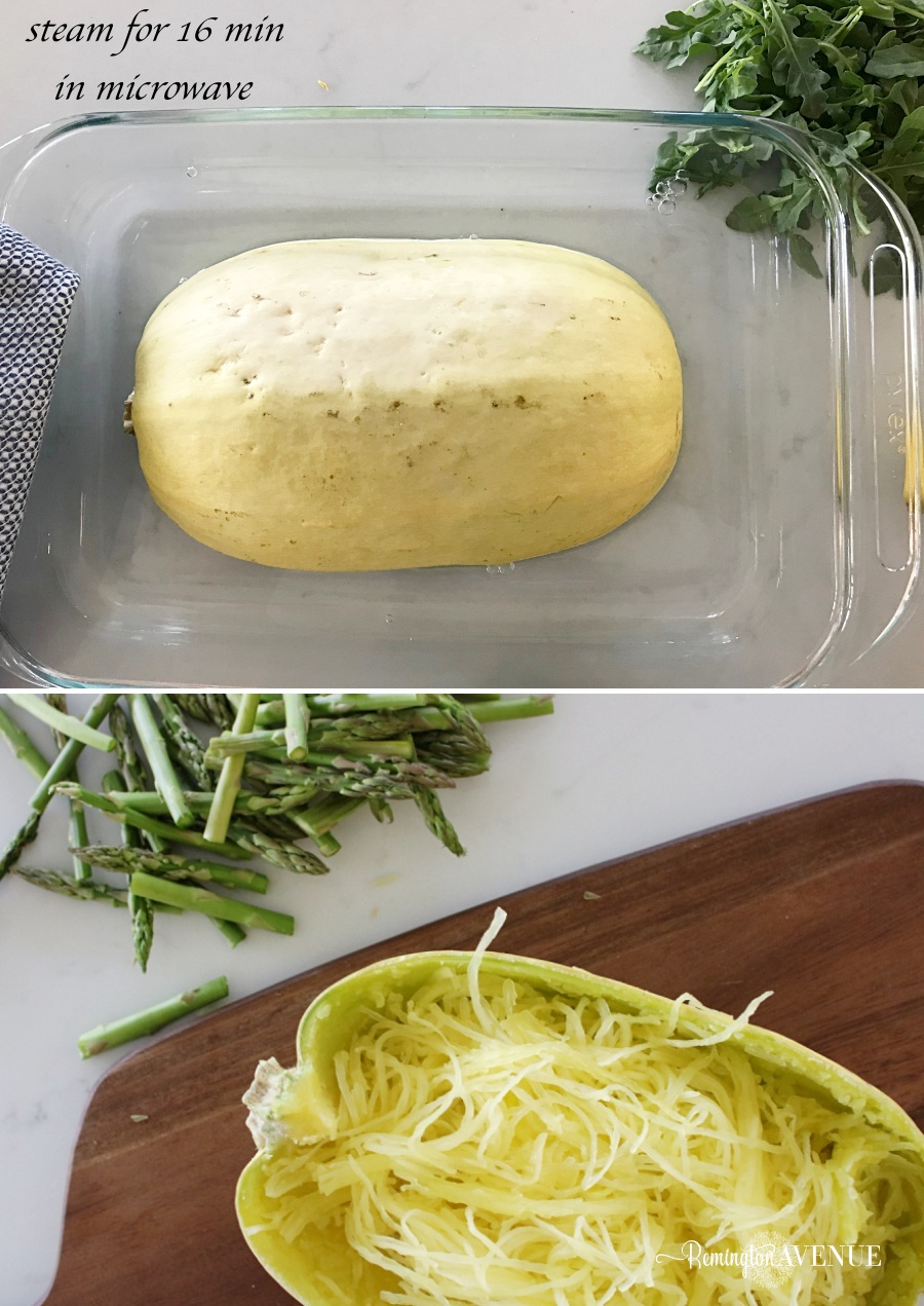 Keto Shrimp Alfredo with Spaghetti squash noodles and asparagus Recipe