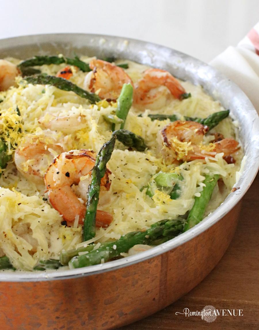 Keto Shrimp Alfredo with Spaghetti squash noodles and asparagus Recipe