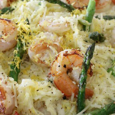 Keto Shrimp Alfredo with Spaghetti squash noodles and asparagus